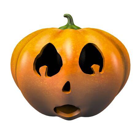Scared halloween pumpkin face emotion 3d illustration