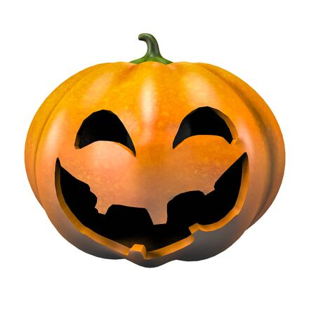smiling halloween pumpkin face emotion 3d illustration Фото со стока