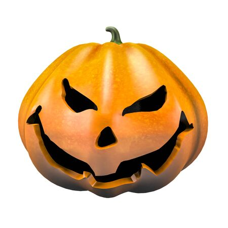grinning smile halloween pumpkin face emotion 3d illustration
