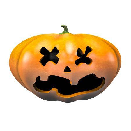 dead halloween pumpkin face emotion 3d illustration