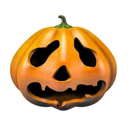 sad scary halloween pumpkin face emotion 3d illustration Фото со стока