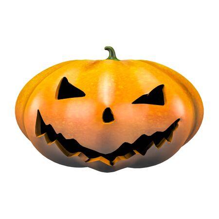 Classic scary halloween pumpkin face emotion 3d illustration