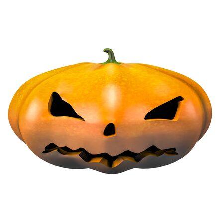 Evil menacing halloween pumpkin face emotion 3d illustration Фото со стока