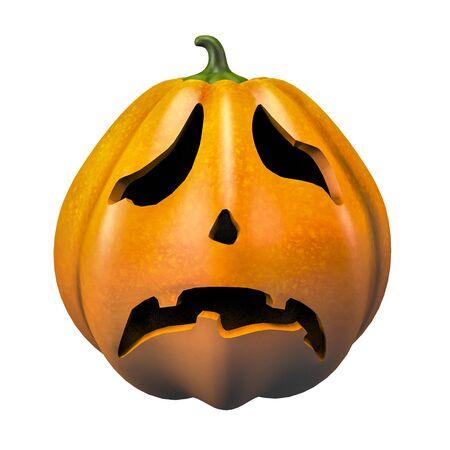sad halloween pumpkin face emotion 3d illustration