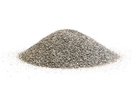 Beach sand grains isolated on white. photo