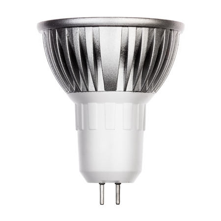 glower: LED light bulb with GU5.3 socket Isolated on white Stock Photo