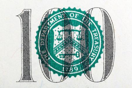 one hundred dollar bill: Part of one hundred dollar bill in macro Stock Photo