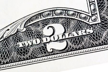 American money, Two dollar bill close-up. Isolated. Stock Photo