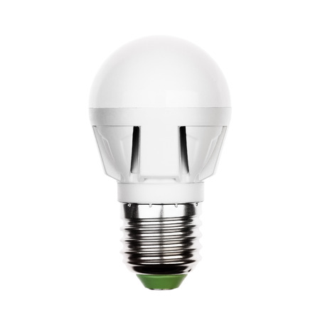 e27: Small energy saving LED light bulb (lamp) with e27 socket isolated on a white. Stock Photo