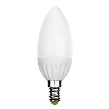 glower: LED light bulb with E14 socket Isolated on white. Stock Photo