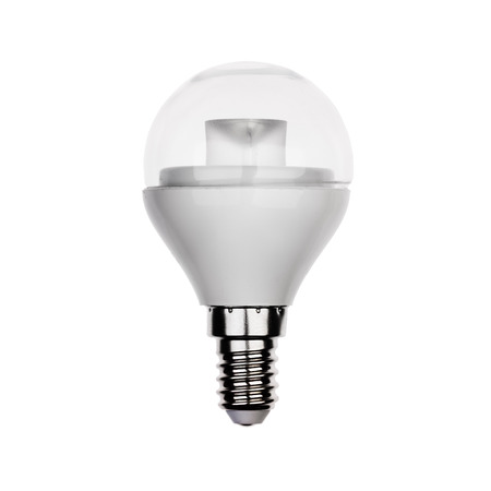 glower: Exclusive LED light bulb with E14 socket Isolated on white.