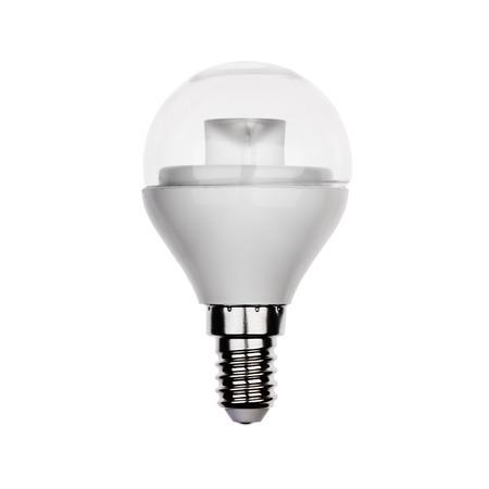 enchufe de luz: Exclusivo bombilla LED con casquillo E14 Aislado en blanco. Foto de archivo