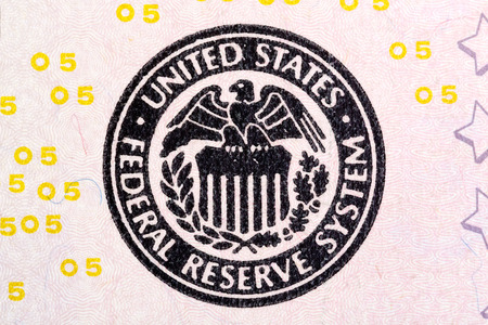 five dollar bill: Federal Reserve System sign on five U.S. dollar bill.