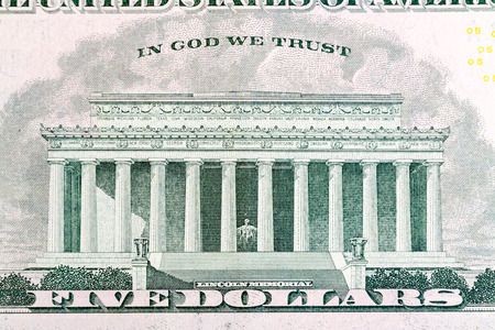 five dollar bill: Lincoln Memorial on five dollar bill. Stock Photo