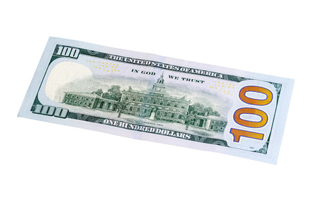 one hundred dollar bill: Stacked Photo. Back of new one hundred dollar bill.