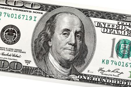 Detail of Ben Franklin on the 100 dollar bill.