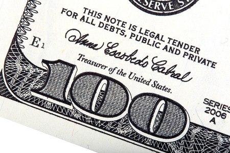 100 dollars – U.S. money. Stacked photo. Stock fotó