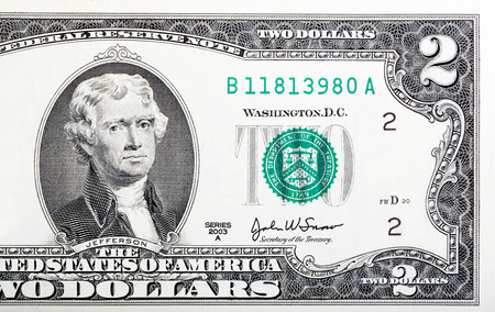 two dollar bill: Two dollar bill issued in 2003 to commemorate the bicentenary U.S.