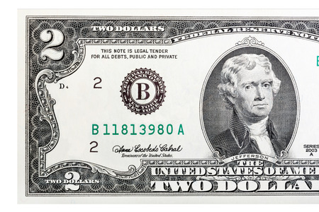 two us dollar: A close-up of a two U.S. dollar bill. Isolated. Stock Photo