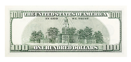 ben franklin money: Back of old one hundred dollar bill isolated on white.