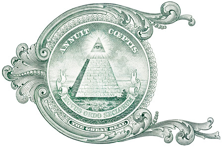 eye of providence: One dollar detail pyramid.