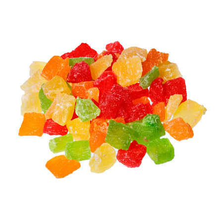 Candied fruit group on white background.