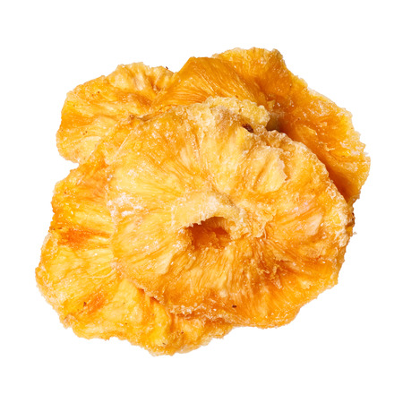 sappy: Dried pineapples slices isolated on white background.
