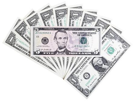 dollaro: Foto del primo piano di cinque dollaro banconota sfondo astratto. Archivio Fotografico