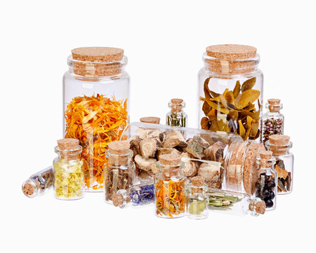 Different healing herbs in glass bottles for herbal medicine isolated on white.