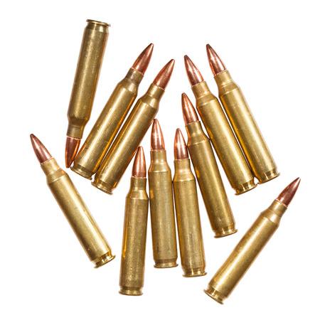 intermediate: 5.56x45mm NATO intermediate cartridges isolated on white.