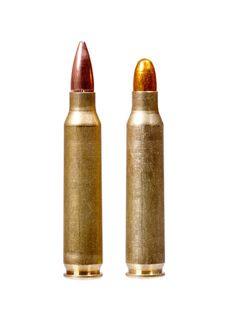 Two rifle bullets over white background.
