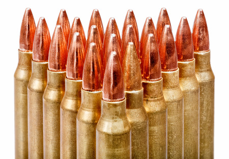 m16 ammo: Bullets close-up on white background.