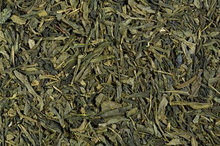 sencha tea: Close up of green tea leaflets, detail, macro, full frame, horizontal texture. Green Tea. Sencha.