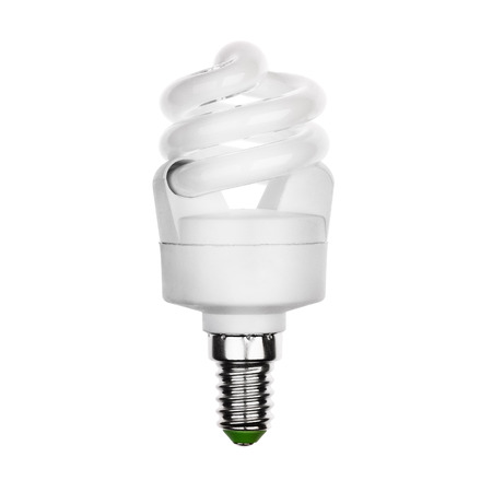 glower: Bulb with E14 socket Isolated on white Stock Photo