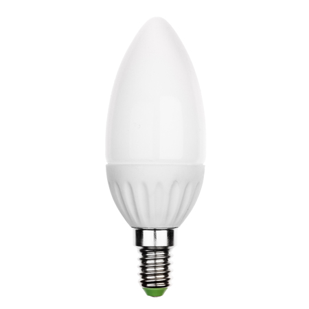 glower: LED light bulb with E14 socket Isolated on white Stock Photo