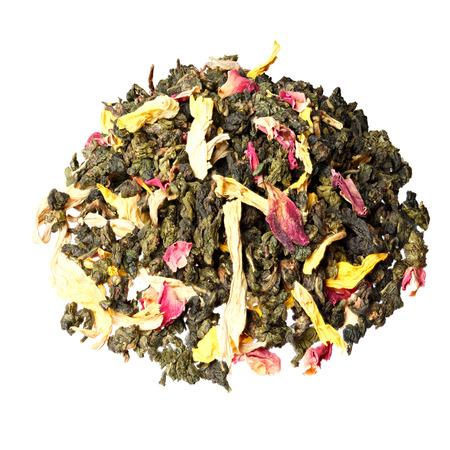 emperors: Heap of loose Emperors 7 treasures tea on white.