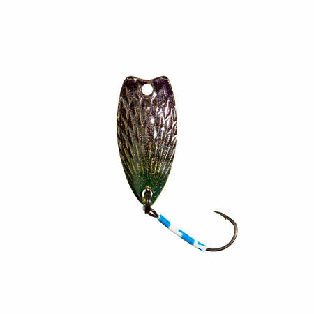 trout fishing: Fishing lure for trout fishing on white. Stock Photo