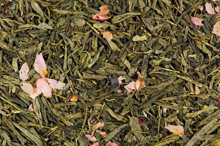 stimulator: Sencha based tea mix texture. Stock Photo