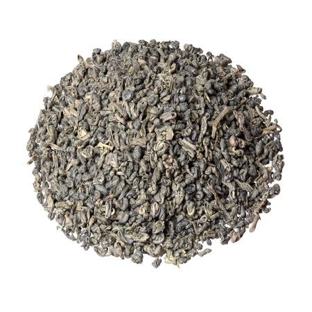 gunpowder tea: Gunpowder tea isolated on white. Stock Photo
