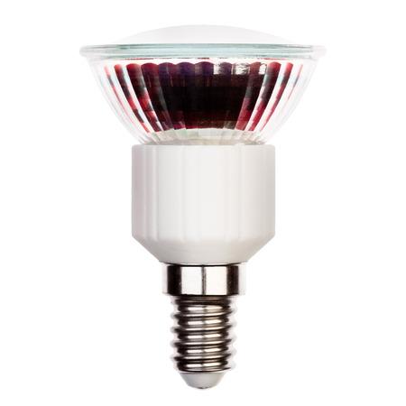 glower: LED light bulb with E14 socket Isolated on white Stock Photo