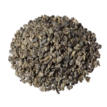 gunpowder tea: Gunpowder tea isolated on the white background.