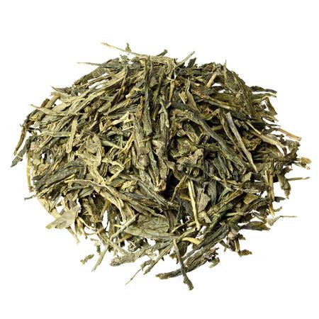 sencha tea: Sencha green tea isolated on white. Stock Photo