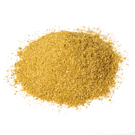 seasonings: A handful of dried seasonings hops-suneli isolated on white background. Stock Photo