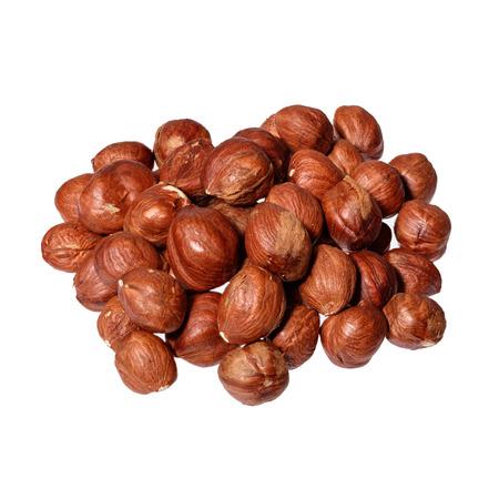 heap: Heap of hazelnuts isolated on white background. Stock Photo