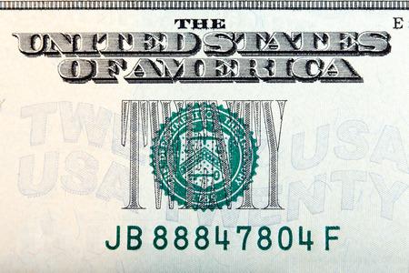 twenty: Twenty dollar sign on the twenty dollar bill, macro shot.