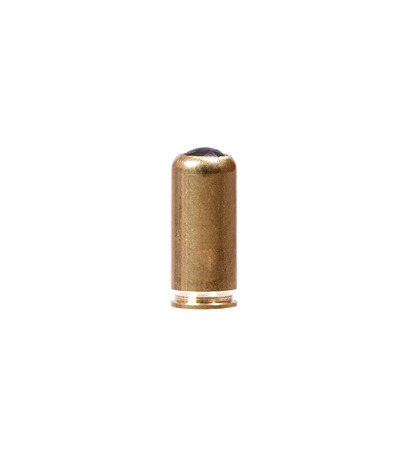 9mm ammo: 9mm bullet for a gun isolated on white.