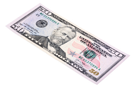 fifty dollar bill: Stacked shot of U.S. fifty dollar (American money) bill, made at an angle.
