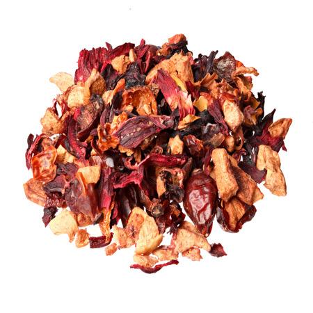 freeze dried: Fruit tea,Ingredients: Apple pieces, hibiscus, rose hips, elderberry, passion fruit, strawberry, kiwi, freeze dried raspberry, rose petals, aroma.