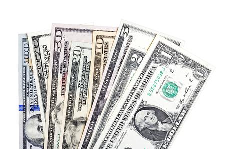 2 50: 1, 2, 5, 10, 20, 50, 100 U.S. dollars bills, isolated on white. Stock Photo