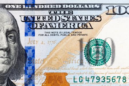 ben franklin money: Close up of new hundred dollar bill. Stock Photo